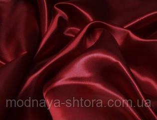 Ткань атлас однотонный бордовый (высота 2,8 м)