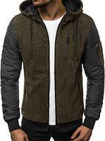 Мужской бомбер цвета хаки с капюшоном. Куртка мужская демисезонная. Мужская курточка цвета хаки. , фото 1