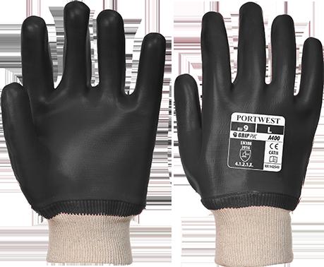 ПВХ перчатки с трикотажной манжетой  A400