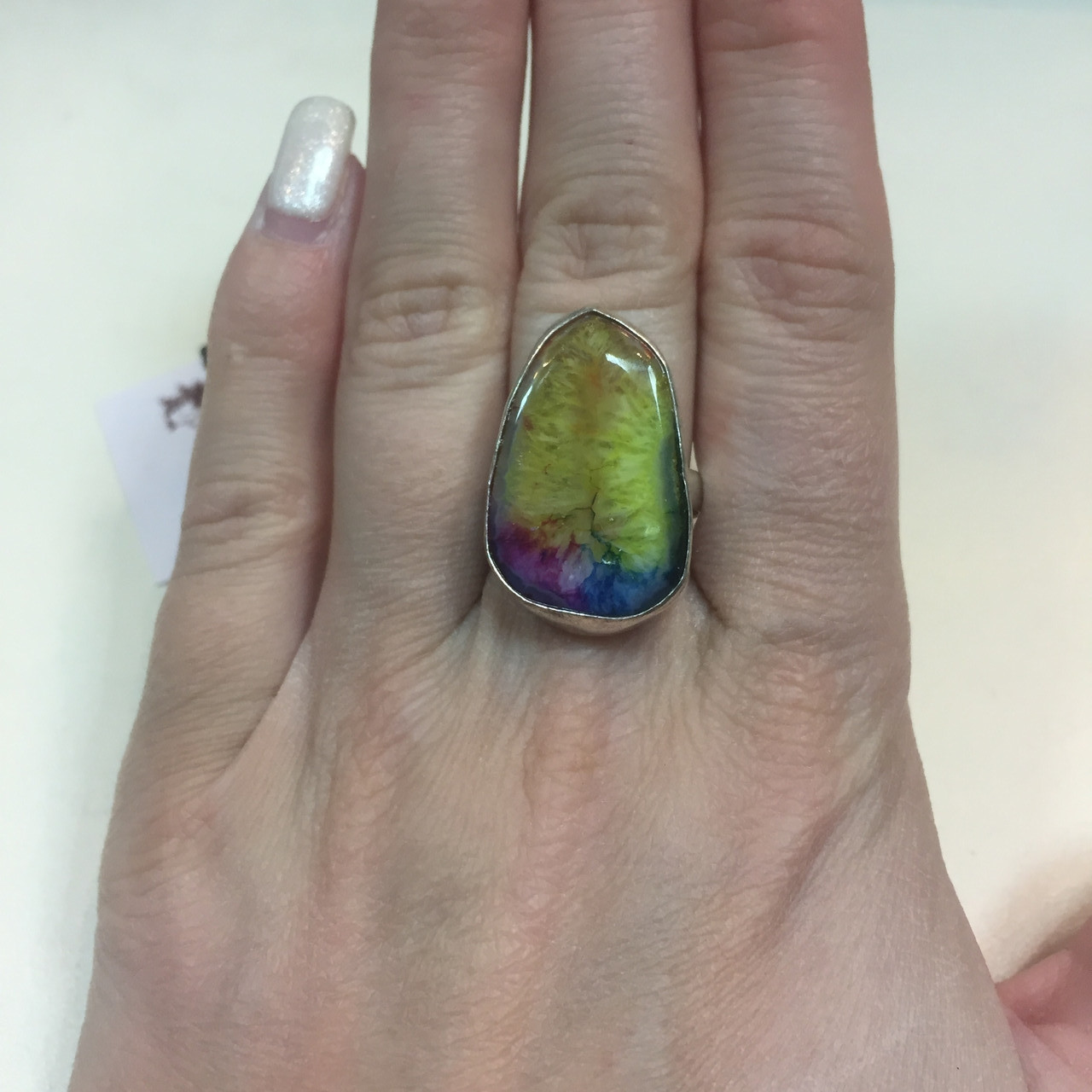 Солнечный кварц радужный кольцо с натуральным радужным кварцем в серебре 18,5-19 размер Индия