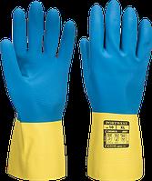 Латексная рукавица с двойной обработкой Portwest A801 Желтый/Синий, L