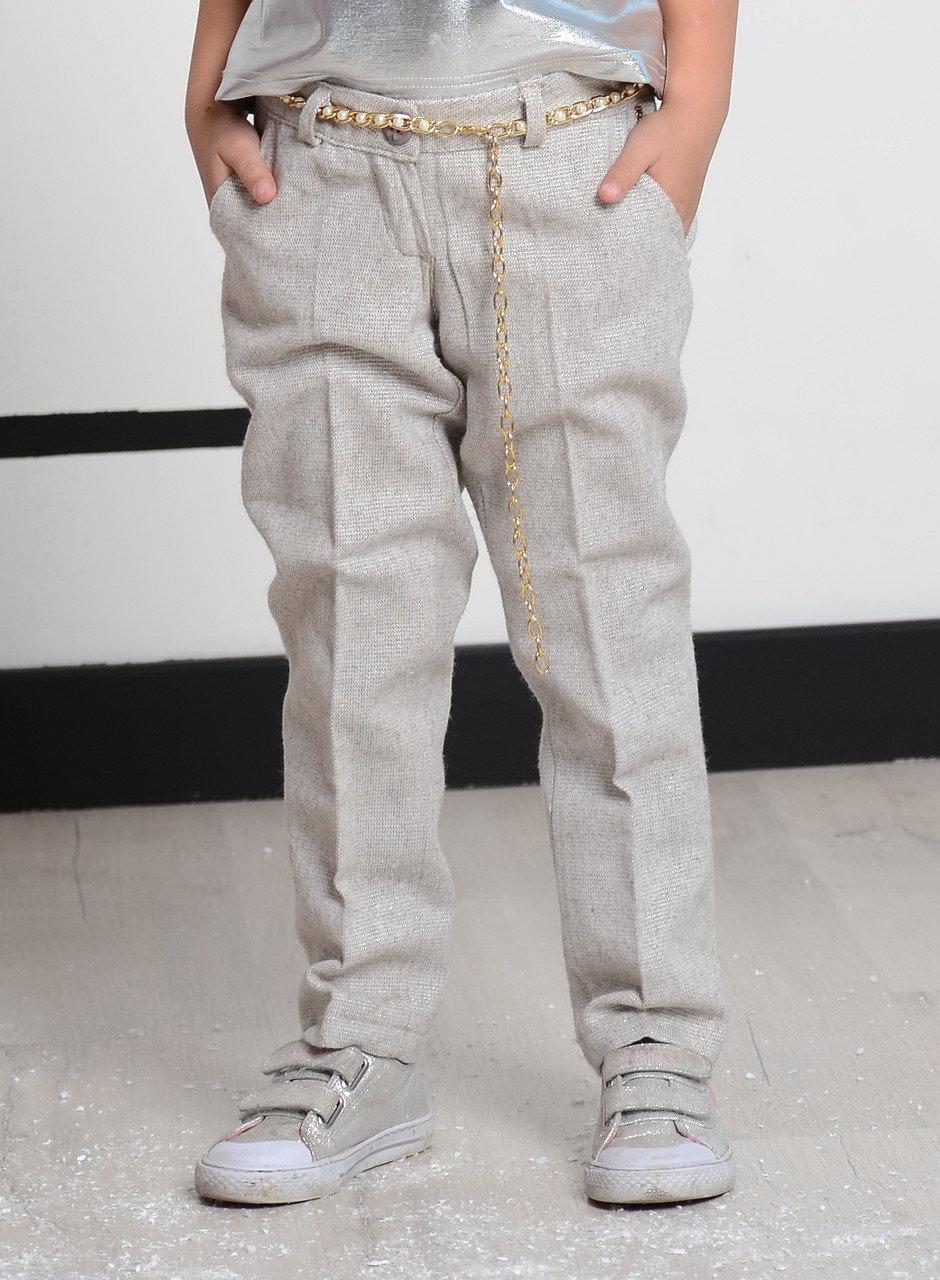 Дитячі ошатні штани для дівчинки 92 см Chole Італія 002T1594152 Бежевий з золотом