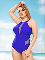 Женский слитный синий купальник больших размеров опт, фото 1