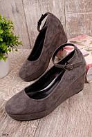 Женские туфли серые на танкетке 7,5 см эко-замш, фото 1