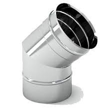 Колени дымоходные 45, 90 одностенные из нержавеющей стали (фиксированные)