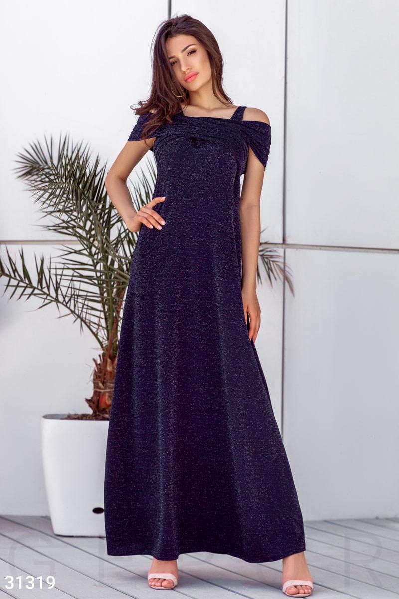 Вечернее платье в пол с мерцающим эффектом цвет темно-синий