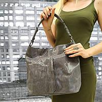 """Женская кожаная сумка  """"Лазерка Gray"""", фото 1"""