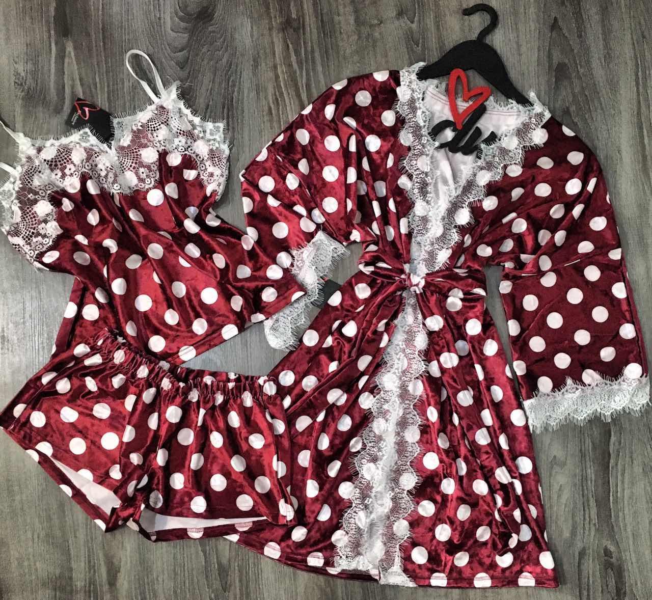 Велюровый комплект  пижама и халат.
