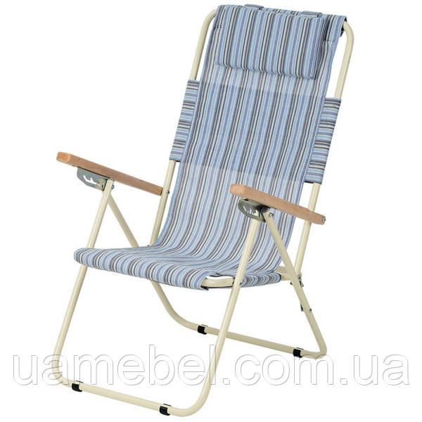 Кресло-шезлонг «Ясень», Ø 20мм (текстилен голубая полоска) 2110020