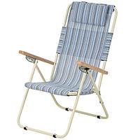 Кресло-шезлонг «Ясень», Ø 20мм (текстилен голубая полоска) 2110020, фото 1