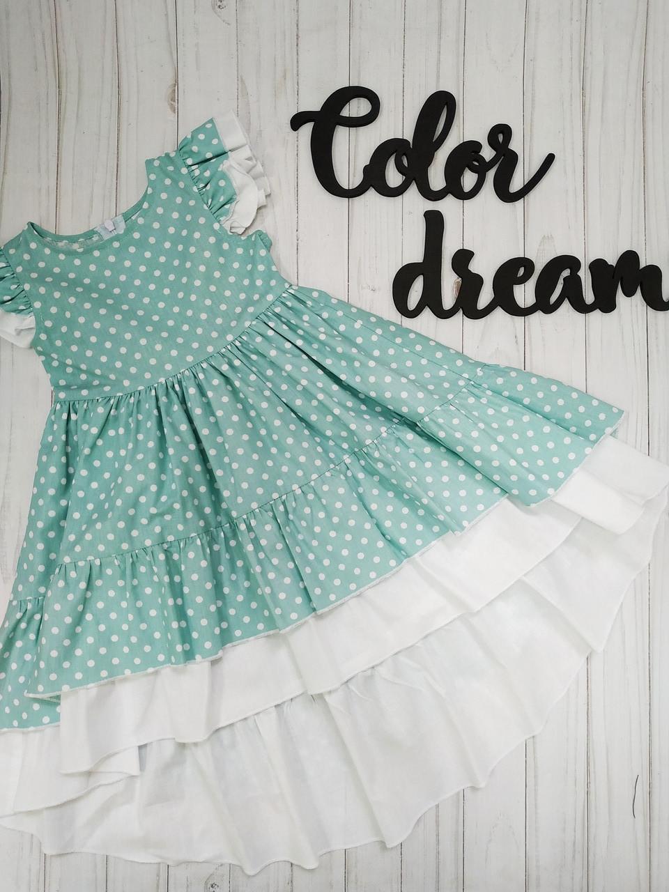 Нежное платье  для девочки   100% Хлопок  удлиненное  Мятный горошек
