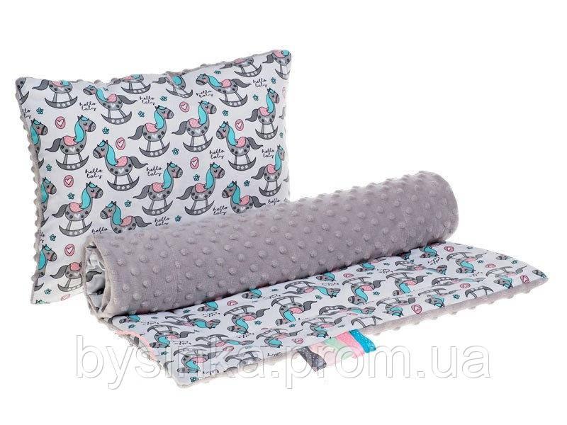 Комплект в детскую коляску BabySoon Лошатки одеяло 75 х 78 см подушка 30 х 40 см Серый (292
