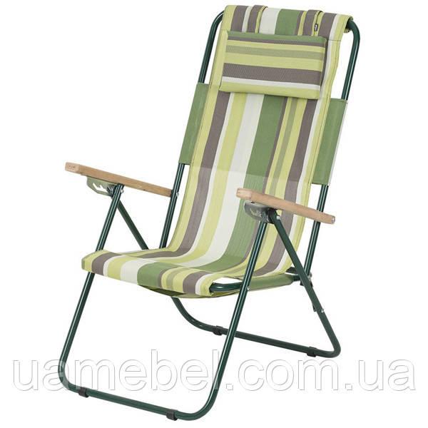 Кресло-шезлонг «Ясень», Ø 20мм (текстилен зеленая полоса) 2110016
