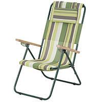 Кресло-шезлонг «Ясень», Ø 20мм (текстилен зеленая полоса) 2110016, фото 1