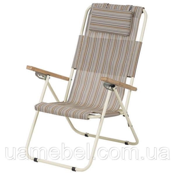 Кресло-шезлонг «Ясень», Ø 20мм (текстилен бежевая полоса) 2110015, фото 1