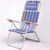 Кресло-шезлонг «Ясень», Ø 20мм (текстилен сине-желтый) 7134, фото 1