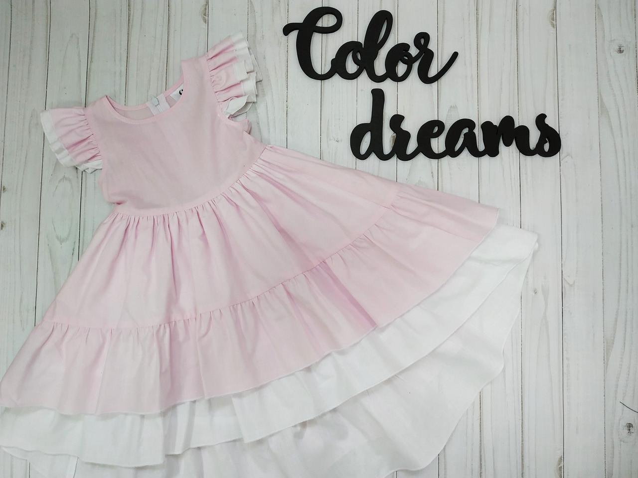 Нежное платье  для девочки   100% Хлопок  удлиненное  Розовое