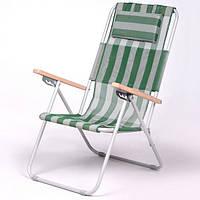 Кресло-шезлонг «Ясень», Ø 20мм (текстилен бело-зеленый) 7133, фото 1