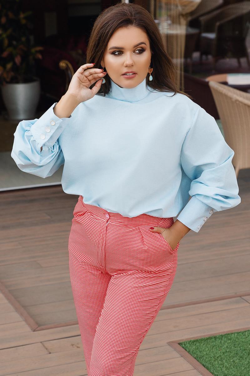 """Стильная хлопковая женская блуза """"Hamburg"""" с длинным рукавом (большие размеры)"""