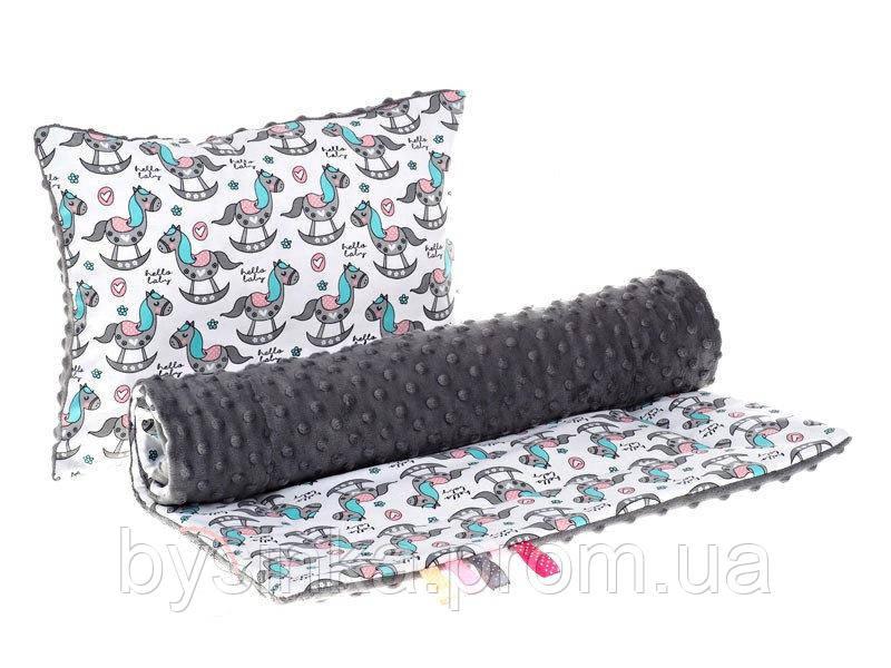 Комплект в детскую коляску BabySoon Лошадки одеяло 75 х 78 см подушка 30 х 40 см графит (294)