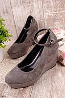 Женские туфли серые на танкетке 10 см эко-замш, фото 1