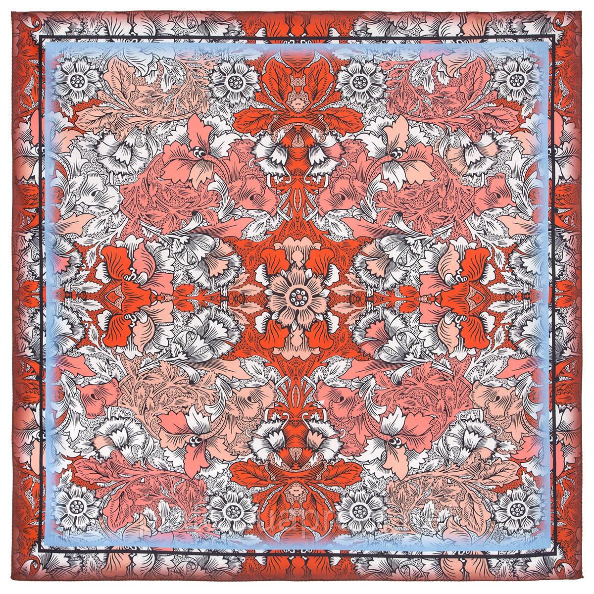 10821-5, павлопосадский платок на голову хлопковый (саржа) с подрубкой
