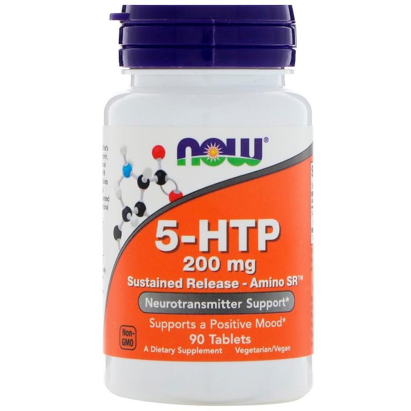 """5-гидрокситриптофан NOW Foods """"5-HTP"""" длительное усвоение - Amino SR, 200 мг (90 таблеток)"""