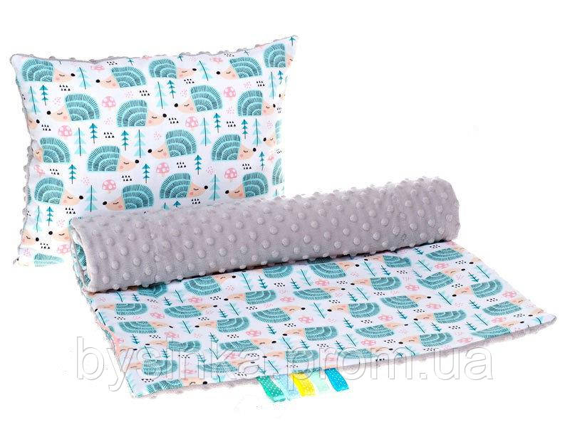 Комплект в детскую коляску BabySoon Ежики мятные одеяло 75 х 78 см подушка 30 х 40 см серый (299)