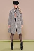 Женское пальто прямого силуэта со съемным поясом рр 40