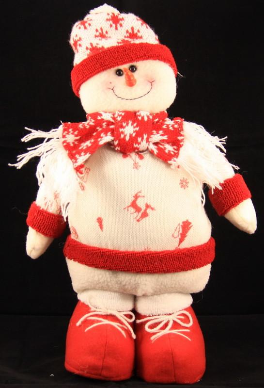 Мягкая новогодняя фигурка Снеговик, 40 см, белый, текстиль (430031)