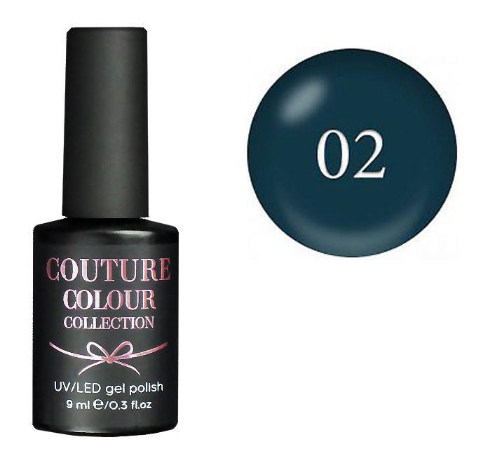 Гель-лак для ногтей Couture Colour LE02 Плотный сине-зеленый изумруд (эмаль) 9 мл