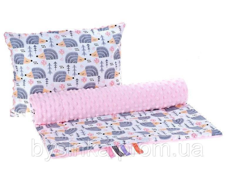 Комплект в детскую коляску BabySoon Ежики мятные одеяло 75 х 78 см подушка 30 х 40 см розовый (329)