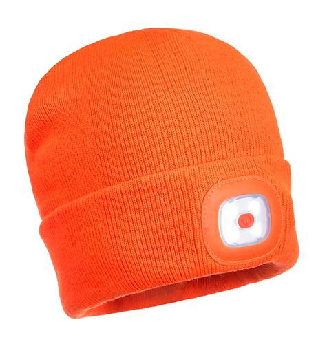 Шапка с двумя перезаряжаемыми LED фонариками B028  Оранжевый