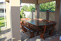 Комплект деревянной мебели для беседки 2500х1200+6 лавочек