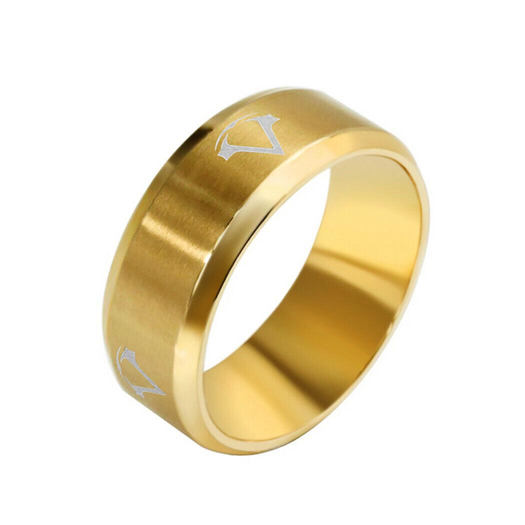 Кольцо из нержавеющей стали, золотистое анодирование, 19 размер, 1166КЖ