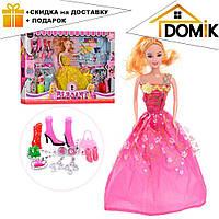 Кукла 0543 с длинными волосами, в нарядном платье + обувь, аксессуары   куколка для девочки