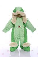 Детский комбинезон трансформер зимний салатовый с зеленым, фото 1