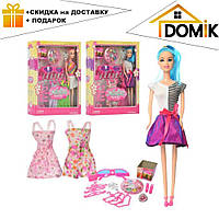 Кукла WX 36-8 длинные голубые волосы, красивые платья, одежда, очки, аксессуары | куколка для девочки