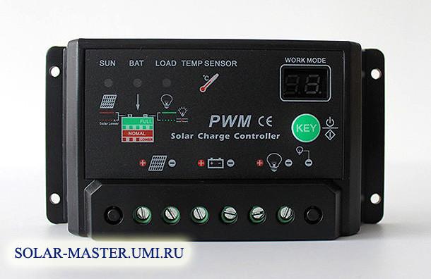 Контроллер заряда 10A 12/24V, с настройками времени освещения