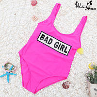 Розовый сплошной купальник с принтом bad girl опт, фото 1