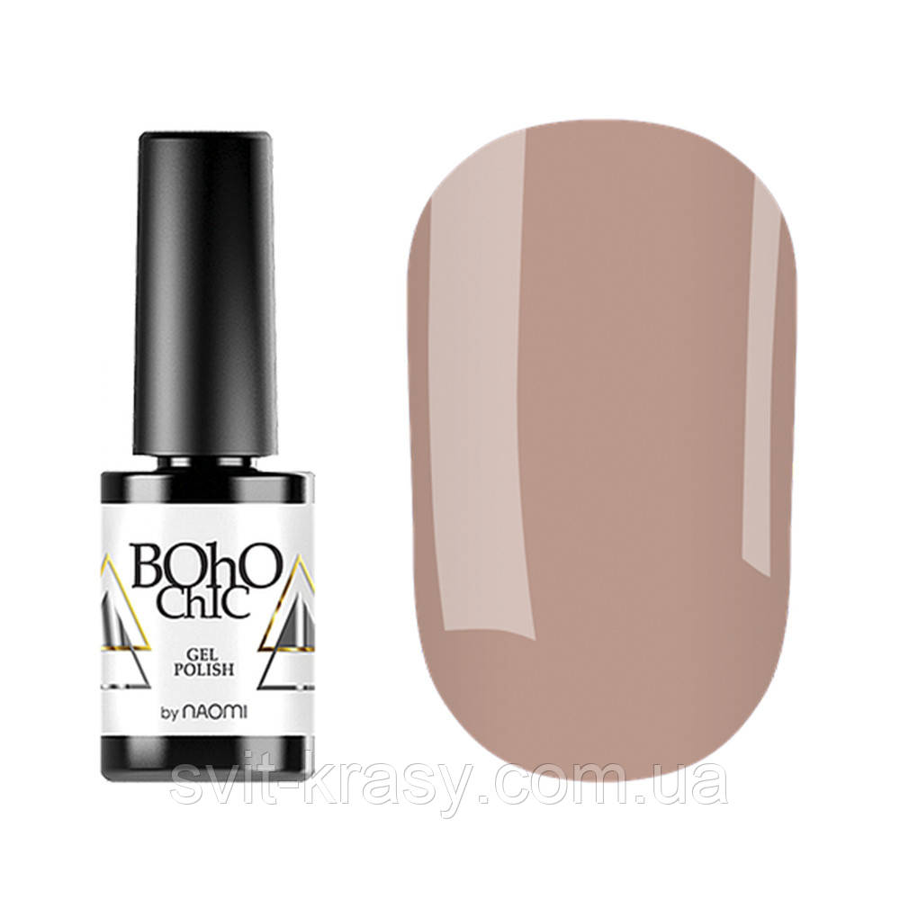 Гель-лак для ногтей Naomi Boho Chic №BC110 Плотный светлый ванильно-розовый крем (эмаль) 6 мл