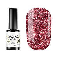 Гель-лак для ногтей Naomi Boho Chic №BC129 Полупрозрачный красные блестки на сиреневом фоне 6 мл