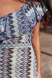 Облегающее платье в пол на одно плечо с воланом синее, фото 3