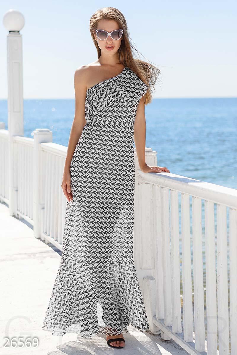 Облегающее платье в пол на одно плечо с воланом черно-белое