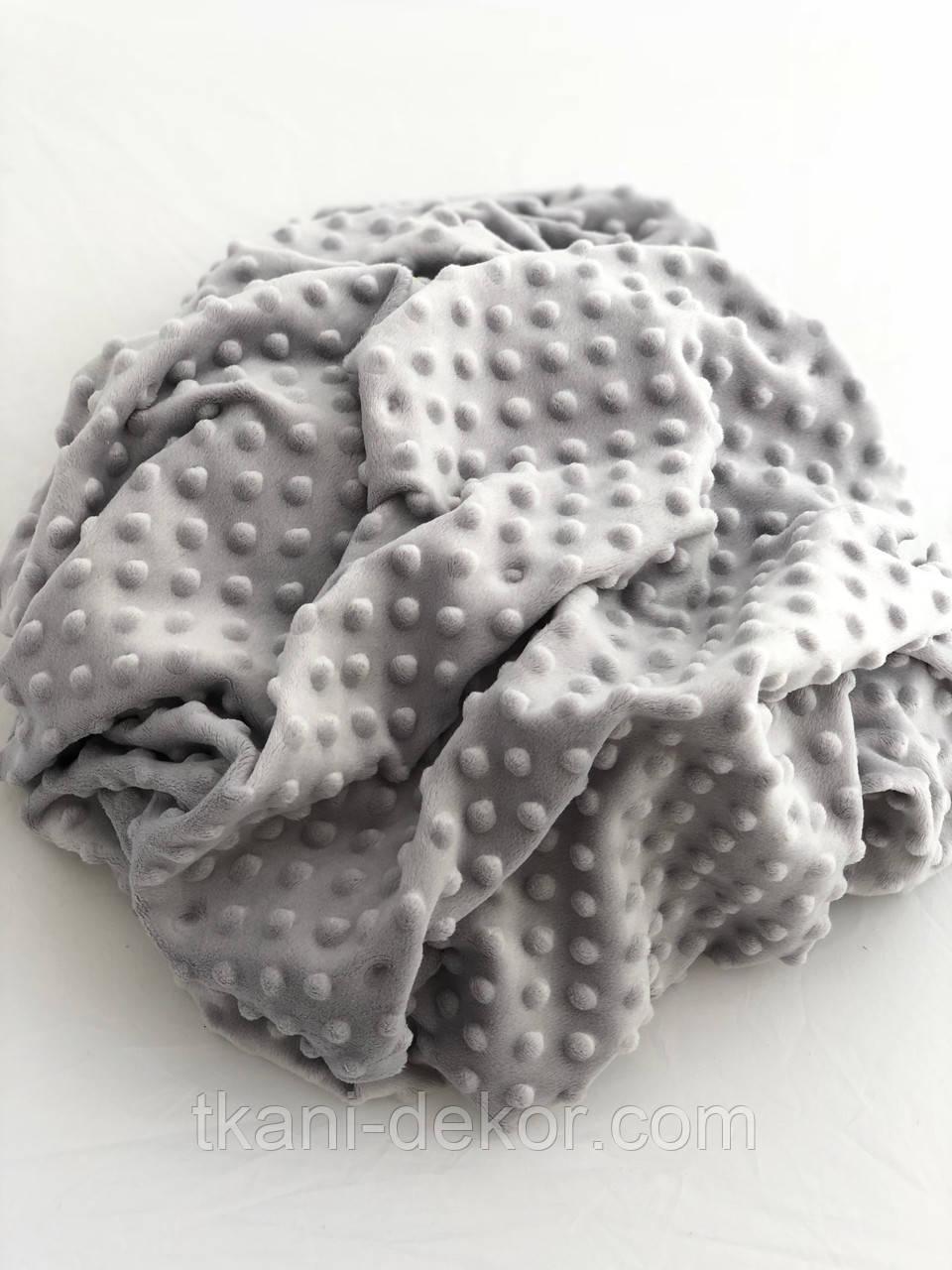 Плюшевая ткань Minky светло-серого цвета (пупырка)(чуть мятый)