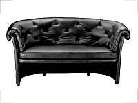 Хилтон диван двухместный кожа черная (Диал ТМ)