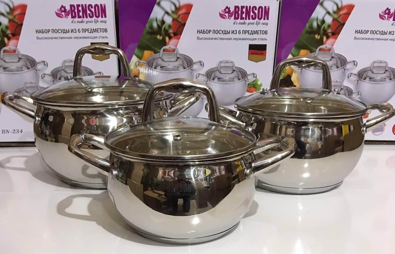 Набор нержавеющих кастрюль. 6 предметов (2,1 л 2,9 л 3,9 л) - Benson BN-234