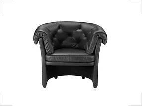 Кресло Хилтон Кожа Люкс Комбинированная Черная (Диал ТМ)