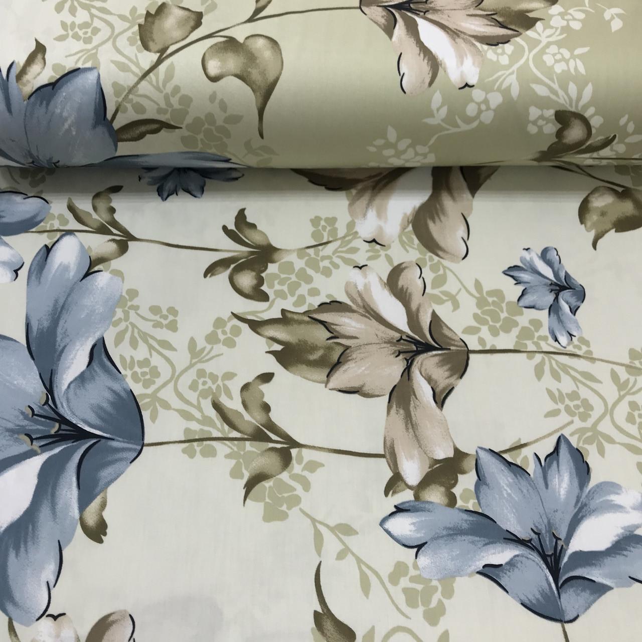 Сатин (ТУРЦИЯ шир. 2,4 м) цветы синие и бежевые на оливковом ОТРЕЗ(0,1*2,4)