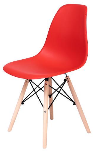 Стілець Жаклін пластиковий Червоний з дерев'яними ніг